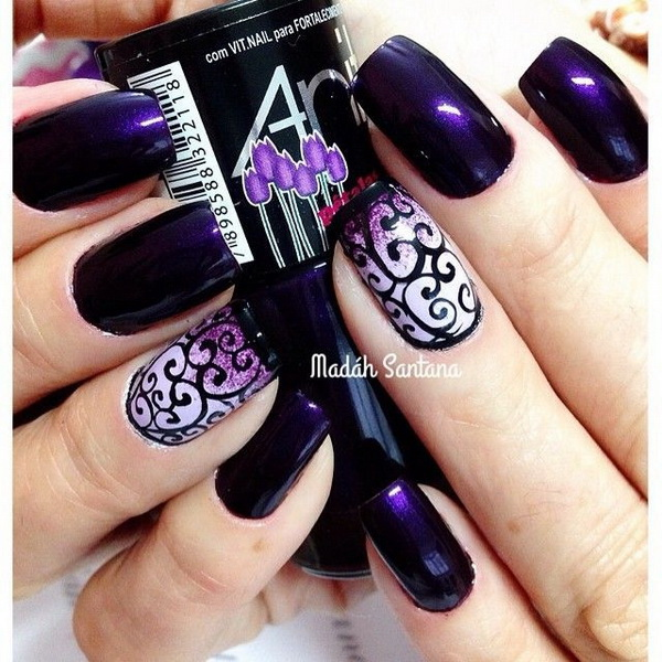 Dark Purple Nails with Swirls Designs.