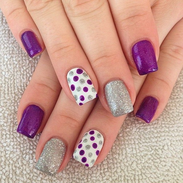 Purple and Silver Glitter Polka Dots Nail Design - 30+ Chosen Purple Nail Art Designs - For Creative Juice