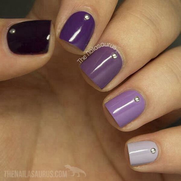 30 chosen purple nail art designs for creative juice ombre purple nail design for short nails prinsesfo Choice Image