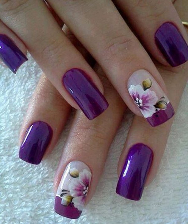 Purple Flower Nail Design.