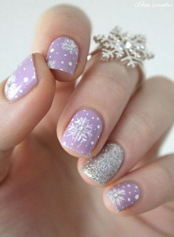 Cute Purple Snowflake Nail Art.