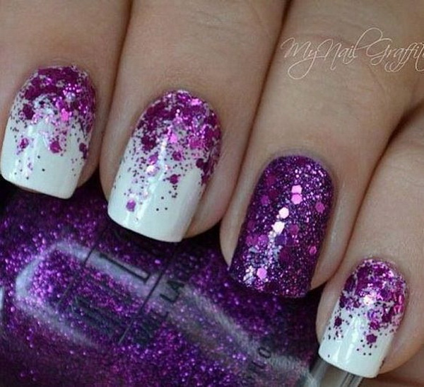 Half Moon Purple Glitter with Matte White Nail Art Design.