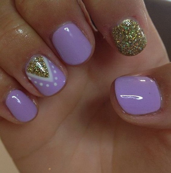 Purple Nails with Gold Glitter Accent for Short Nails.