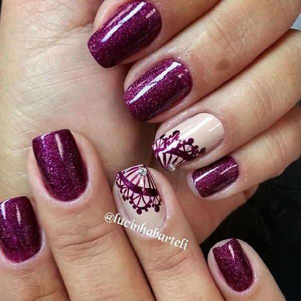 Dark Purple Nails with Lace Details.