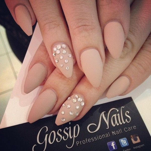 Matte Studded Almond Nail Design.