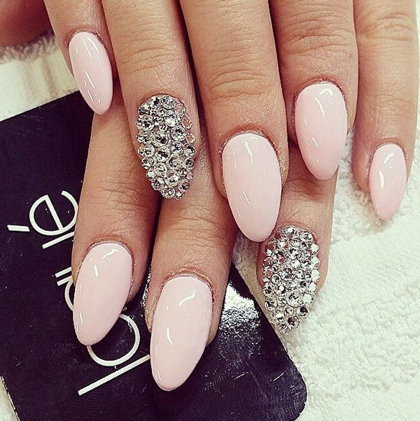 Light Pink Almond Nails with Silver Applications - 20 Beautiful Almond Nail Designs - For Creative Juice
