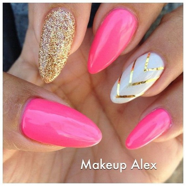 Pink and White Almond Nails with Gold V-shaped Strips.