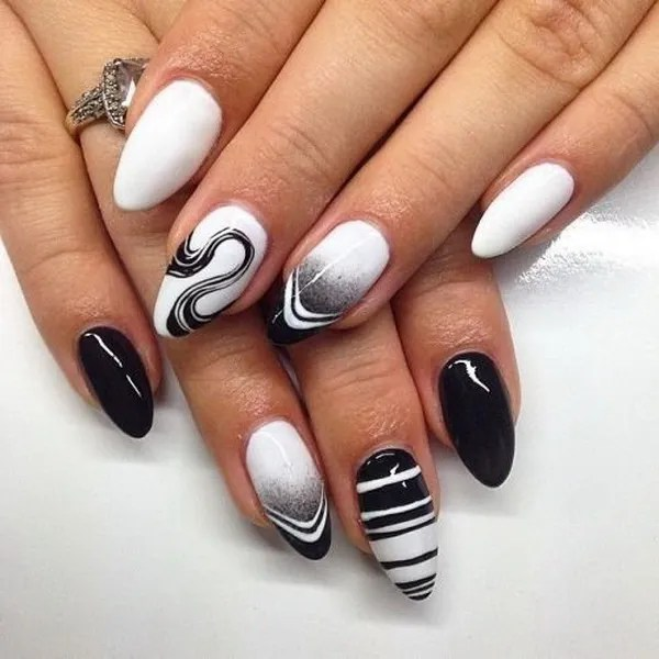 Black and White Almond Nails - 30 Stylish Black & White Nail Art Designs - For Creative Juice