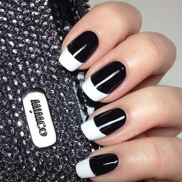 White Tipped Black Nails - 30 Stylish Black & White Nail Art Designs - For Creative Juice