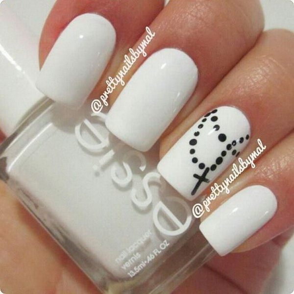 Black And White Cross Necklace Nail Design.