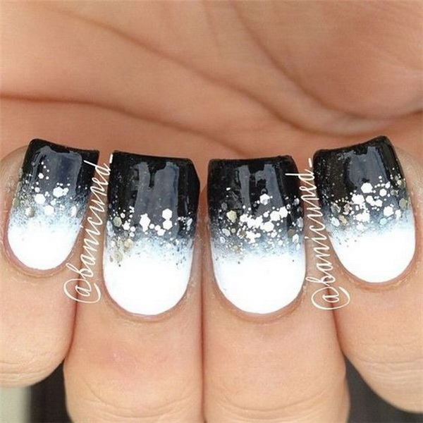 Modern White and Black Nails with Silver Sequins.