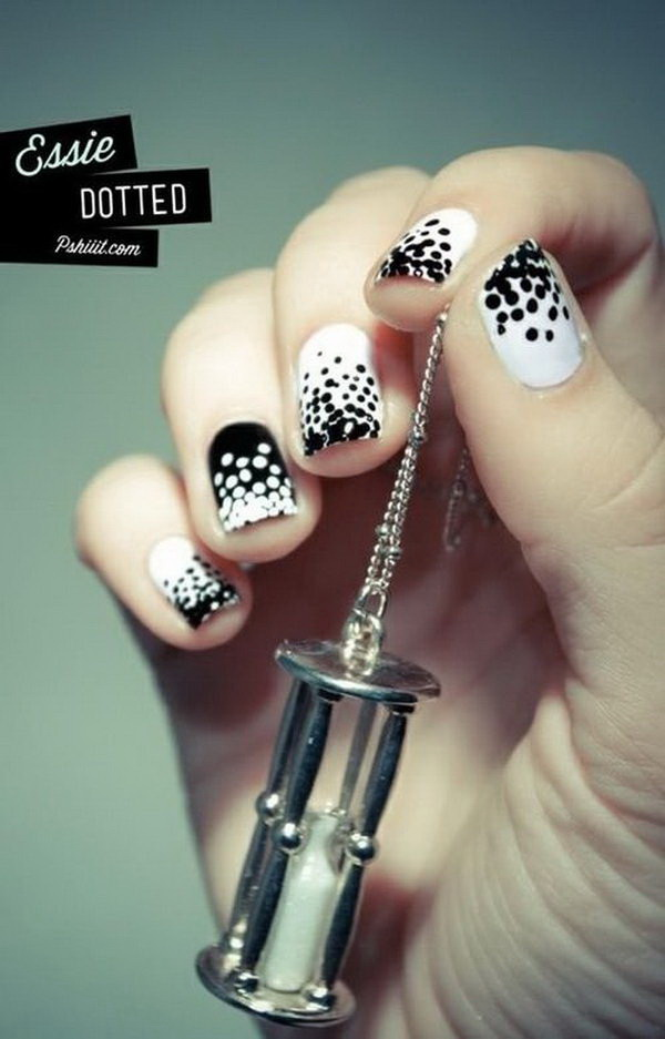 Polka Dot Black and White Nail Designs.