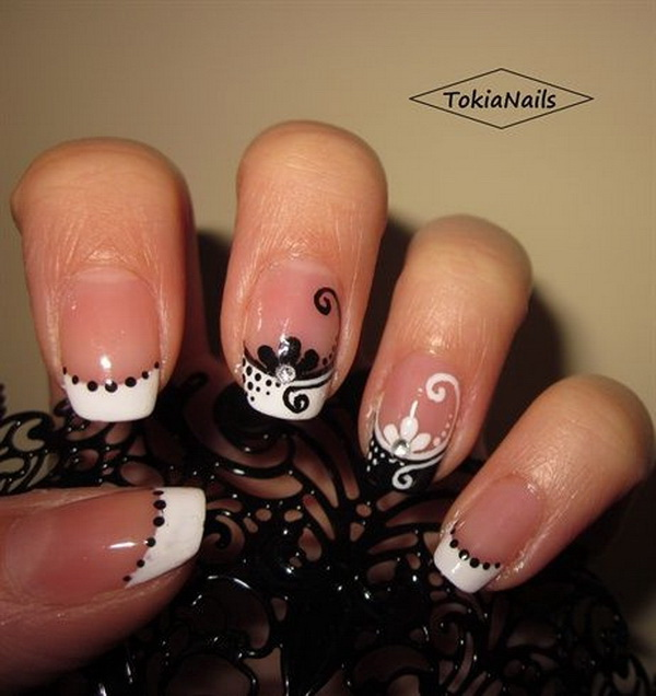 Black and White French Nail Design.