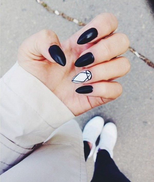 Black and White Almond Shaped Nails.