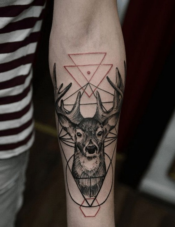 Deer Geometric Forearm Tattoo.What a cool tattoo design idea!  Love it very much! This will be my next tattoo design. via http://forcreativejuice.com/awesome-forearm-tattoo-designs/
