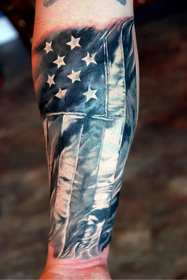 America Flag Forearm Tattoo.What a cool tattoo design idea!  Love it very much! This will be my next tattoo design. via https://forcreativejuice.com/awesome-forearm-tattoo-designs/