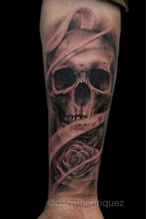 Skull Tattoo Design on Forearm.What a cool tattoo design idea!  Love it very much! This will be my next tattoo design. via https://forcreativejuice.com/awesome-forearm-tattoo-designs/