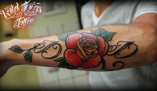 Lettering with Rose Forearm Tattoo.What a cool tattoo design idea!  Love it very much! This will be my next tattoo design. via http://forcreativejuice.com/awesome-forearm-tattoo-designs/