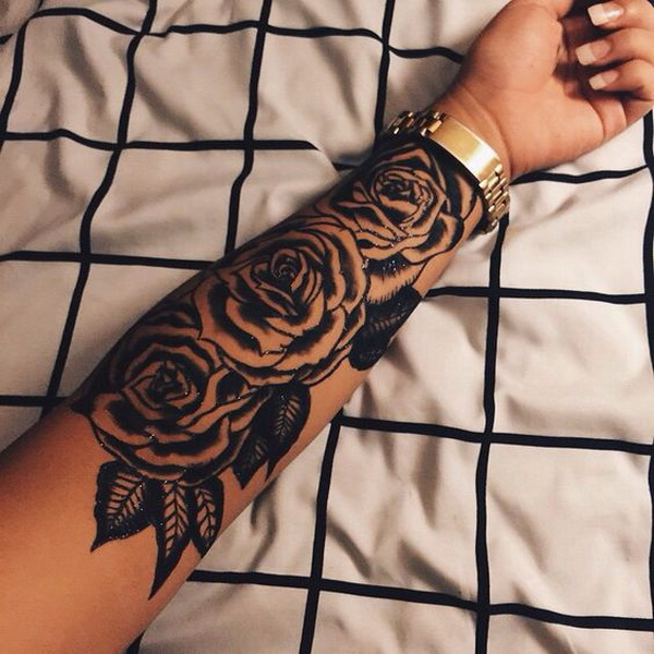 Large Rose Tattoo On The Forearm.What a cool tattoo design idea!  Love it very much! This will be my next tattoo design. via https://forcreativejuice.com/awesome-forearm-tattoo-designs/