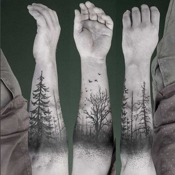 Forearm Tree Tattoo.What a cool tattoo design idea!  Love it very much! This will be my next tattoo design. via https://forcreativejuice.com/awesome-forearm-tattoo-designs/