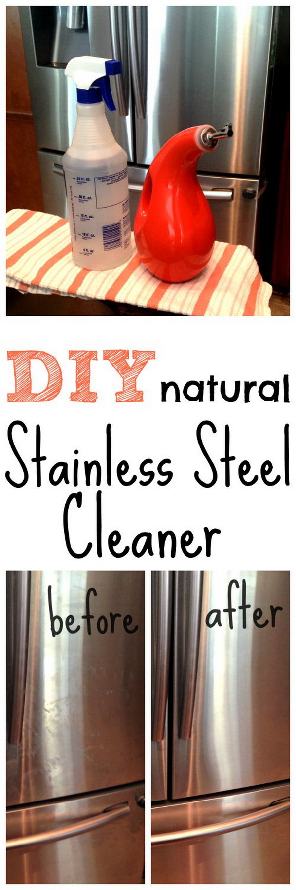 Homemade Stainless Steel Cleaner. Making your own household products and save a ton of money on the essentials. Get the recipes from for creativejuice.com