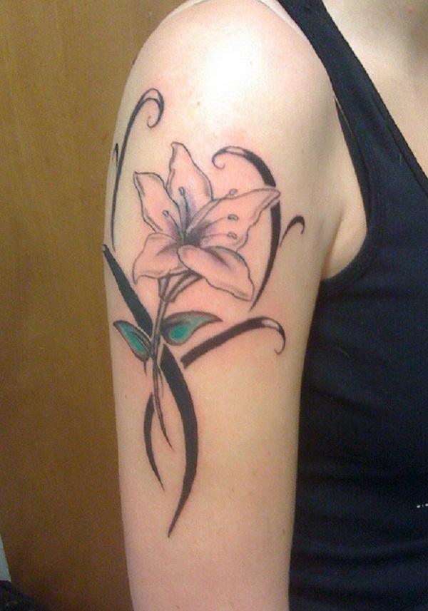 Lily Flower Arm Tattoo Design. via forcreativejuice.com
