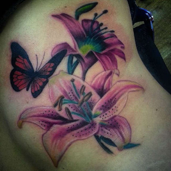 Tiger Lilies Tattoo with Butterfly. via forcreativejuice.com