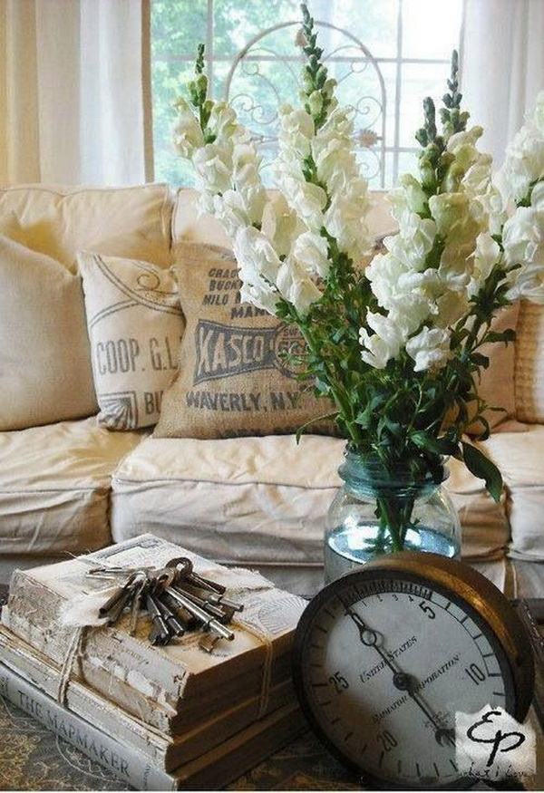 Beautiful Spring Living Room Decoration With Flowers And Vases