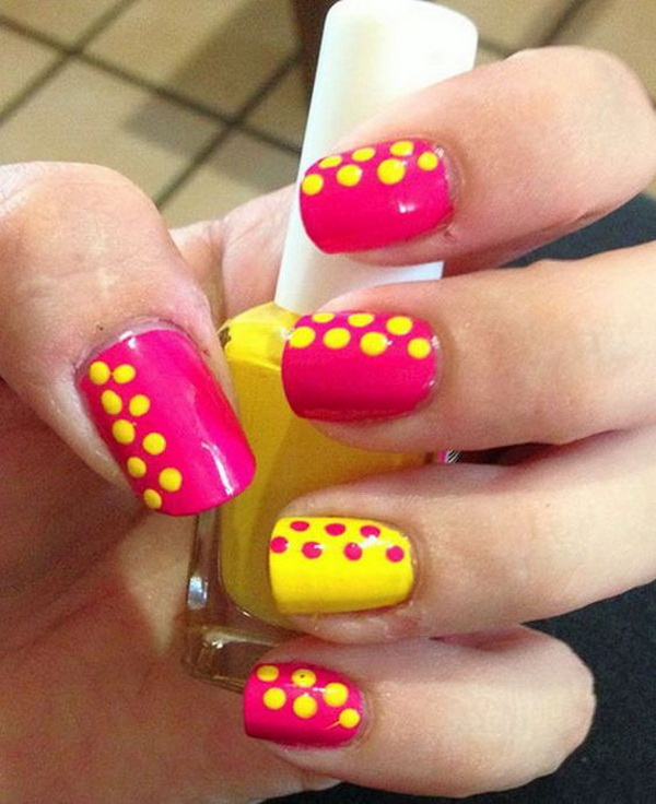 Pink and Yellow Polka Dot Nail Art Designs. (via forcreativejuice.com)