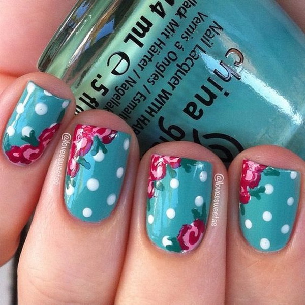 Polka Dots and Flower Nail Design - 40+ Pretty Polka Dots Nail Designs - For Creative Juice