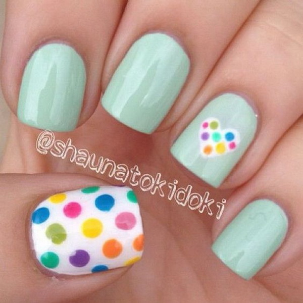 Rainbow Polka Dot Nail Designs. (via forcreativejuice.com)