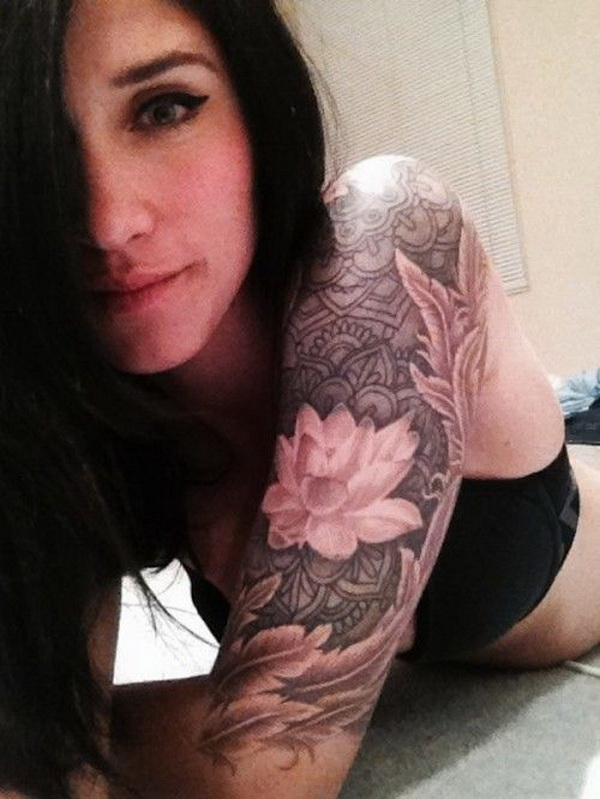 Lotus Sleeve Tattoo Designs For Women. www. https://forcreativejuice.com/cool-sleeve-tattoo-designs/