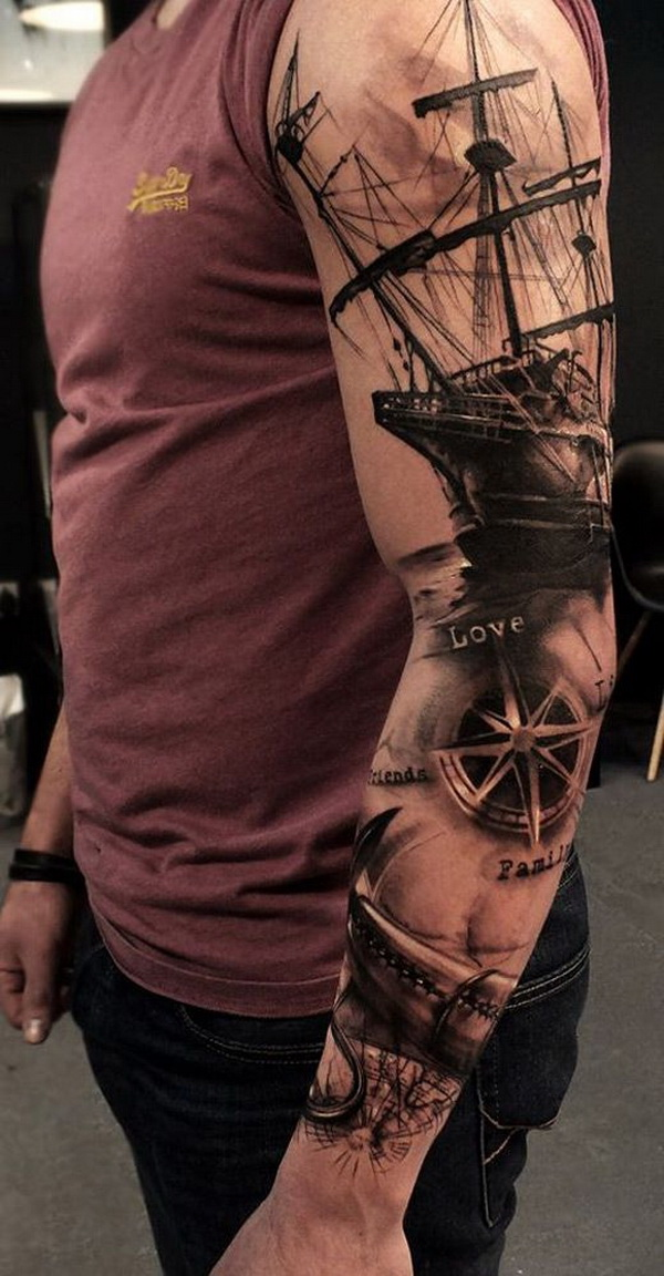 Sailor Inspired Sleeve Tattoo for Men. www. https://forcreativejuice.com/cool-sleeve-tattoo-designs/