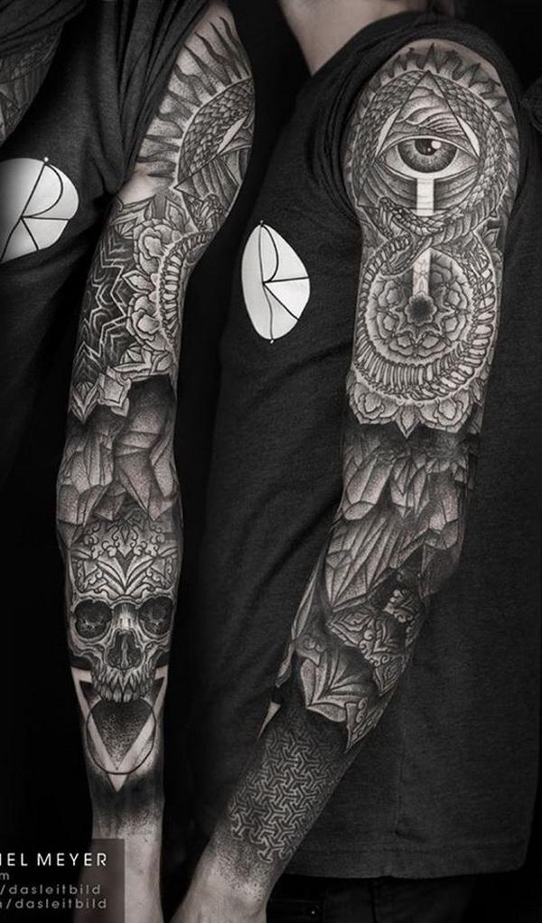 Full Sleeved Mandala Tattoo. www. https://forcreativejuice.com/cool-sleeve-tattoo-designs/