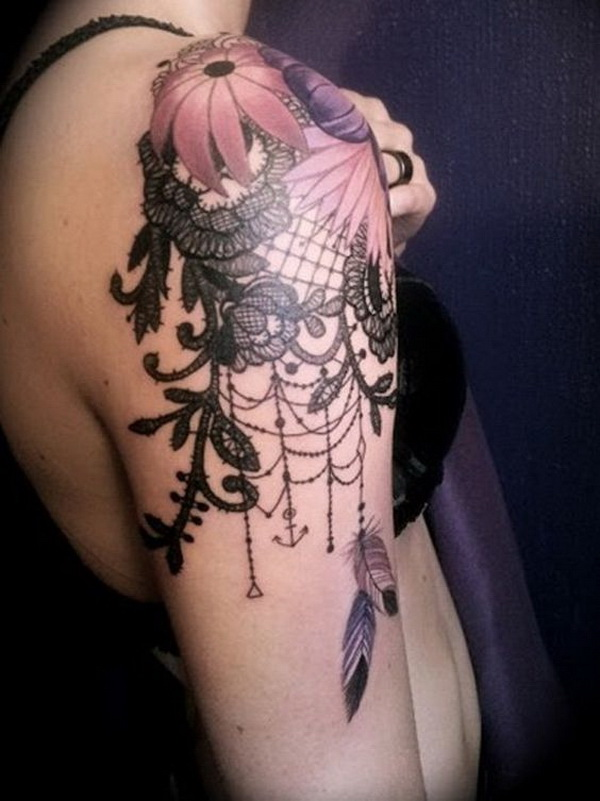 Floral and Lace Quarter Sleeve Tattoo. www. https://forcreativejuice.com/cool-sleeve-tattoo-designs/