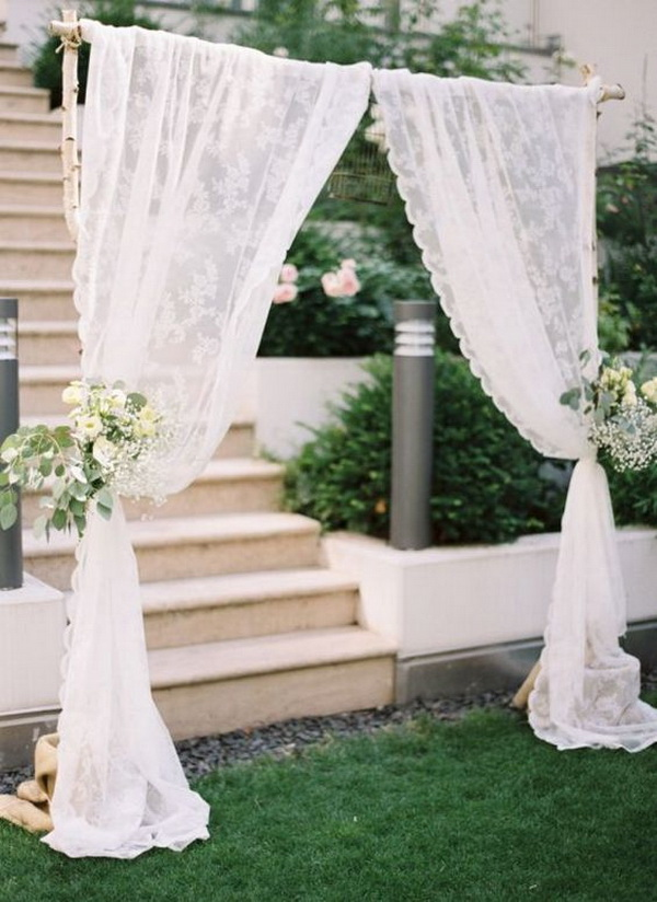 Lace Wedding Arch Decoration<. What a beautiful wedding arch decoration idea! Love it!