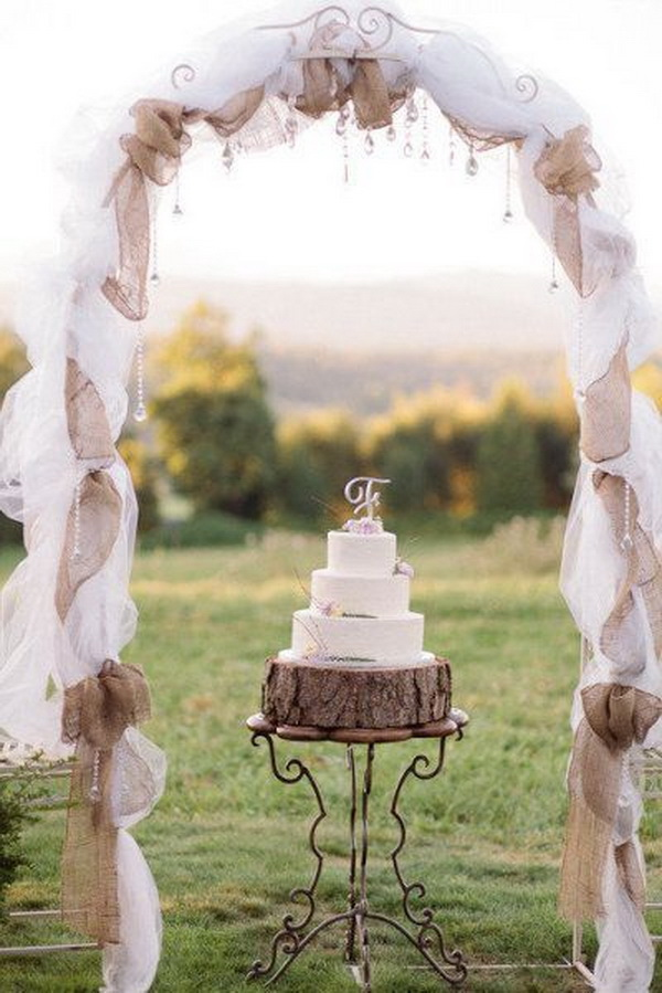 Rustic Burlap and Lace Wedding Arch. What a beautiful wedding arch decoration idea! Love & 20 Beautiful Wedding Arch Decoration Ideas - For Creative Juice