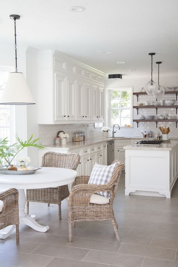 Farmhouse white kitchen. More via https://forcreativejuice.com/elegant-white-kitchen-interior-designs/