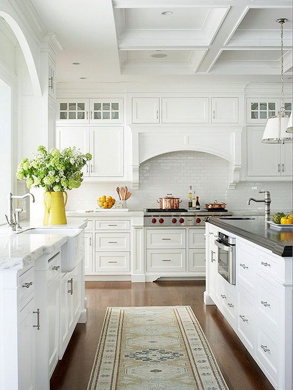 Traditional, cottage-style All-white kitchen. More via https://forcreativejuice.com/elegant-white-kitchen-interior-designs/
