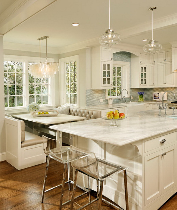 White eat-in kitchen with soft textures and color platte. More via https://forcreativejuice.com/elegant-white-kitchen-interior-designs/