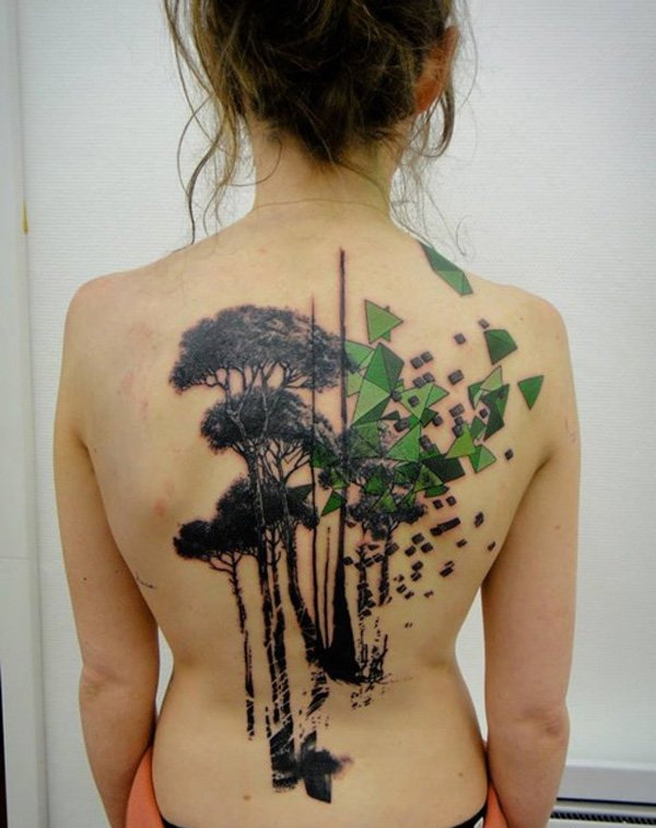 Art Tree Tattoo on Back for Girls.