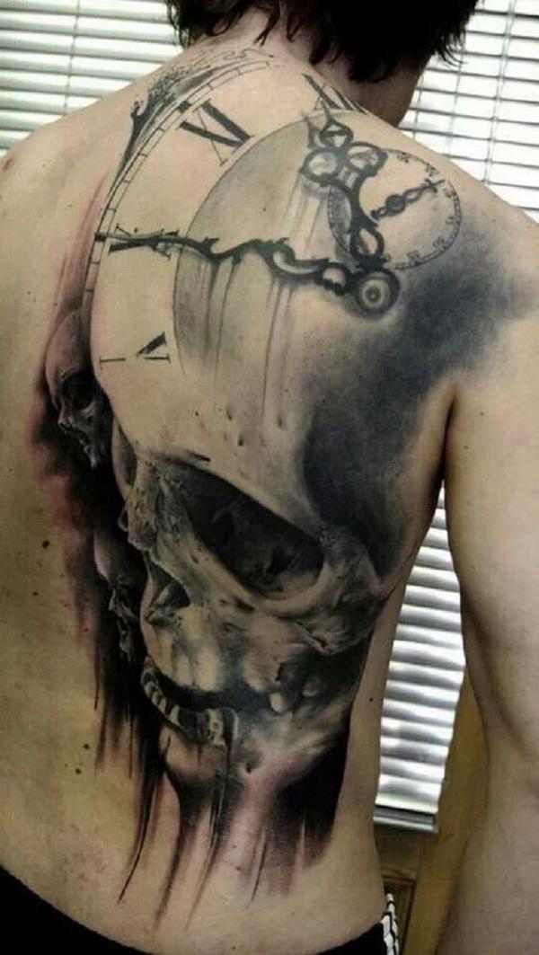 Scary Skull Back Tattoo for Men.
