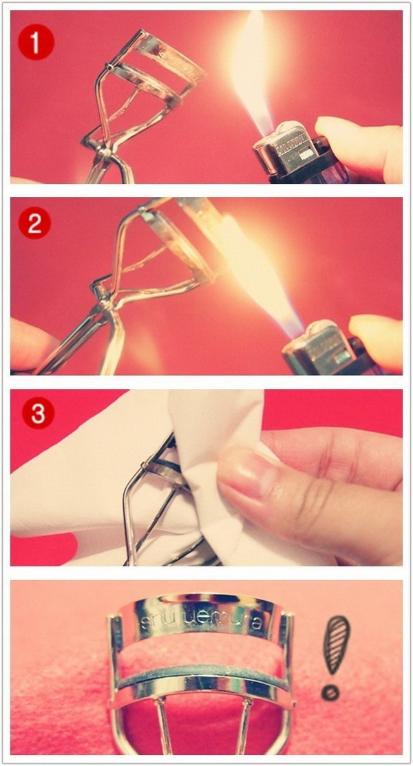 Creative way to clean your eyelash curler with a lighter.