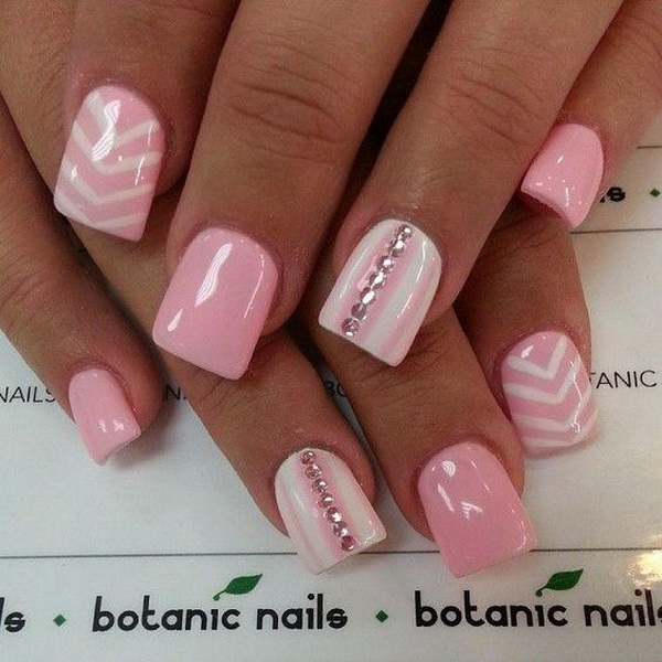 Pink & White Chevron Nails with Beads on Top.