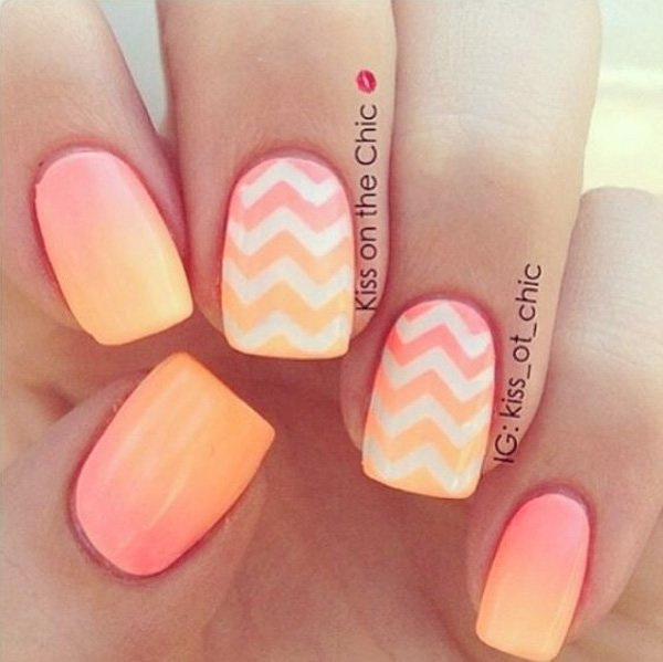 Peach and Orange Ombre Chevron Nail Art.
