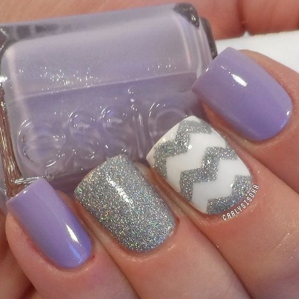 Purple and Silver Glitter Chevron Design for Short Nails.
