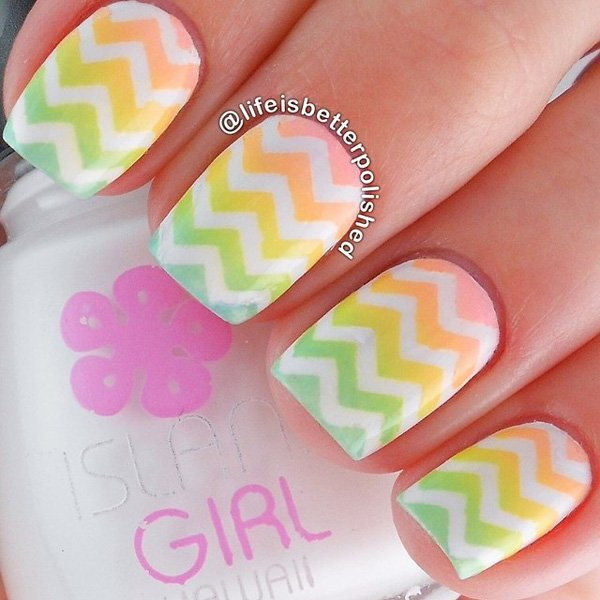 Chevron Patterned Ombre Nail Art.