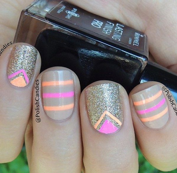 Sparkly Strips and Chevron Nail Art Design.