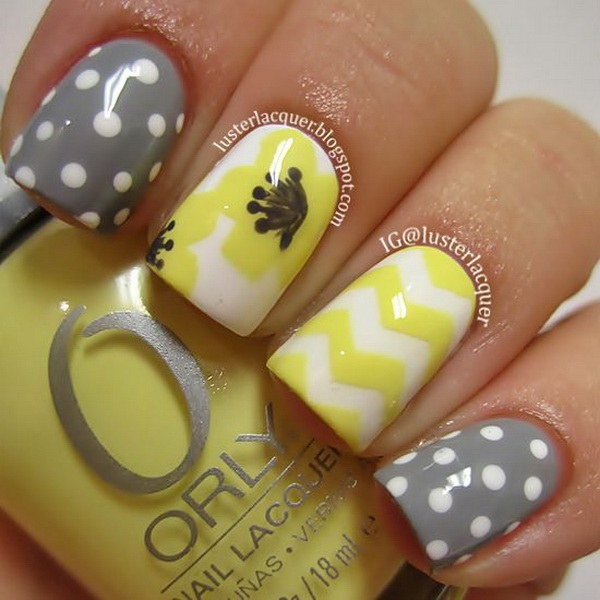 Yellow and Gray Nail Art with Chevron Patterns and Polka Dots.