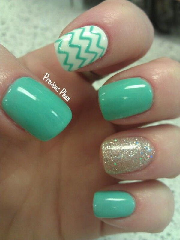 60 beautiful chevron nail art designs for creative juice mint green glitter chevron nails prinsesfo Choice Image